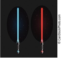 luce, set, futuristico, swords.