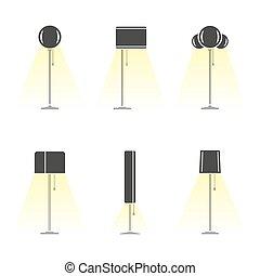 luce, silhouette, set, lampade, emettere