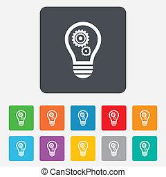 luce, simbolo., segno, lampada, ingranaggi, bulbo, icon.