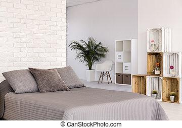 luce, stile, camera letto, scandinavo