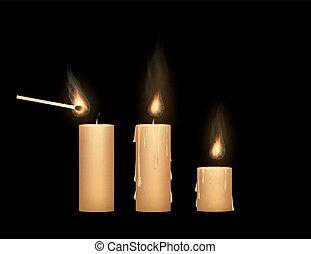 luce, su, fiammifero, candela