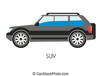 luce, suburbano, illustrazione, vettore, camion, veicolo, programma utilità sport