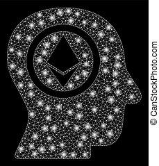 luce testa, mente, macchie, 2d, luminoso, maglia, ethereum