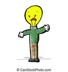luce, testa, uomo, idea, cartone animato