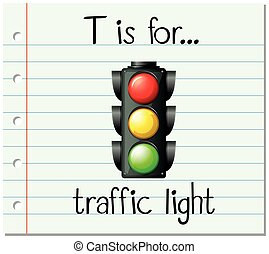 luce, traffico, t, lettera, flashcard