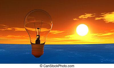 luce, tramonto, bulbo