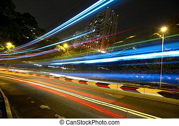 luce trascina, su, autostrada