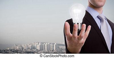 luce, uomo, affari, presa a terra, bulbo