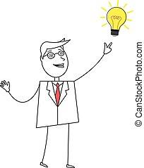luce, uomo, cartone animato, indicare, bulbo