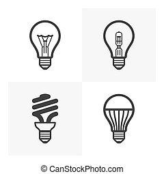 luce, vario, bulbo, icone