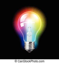 luce, vettore, fondo, colorito, bulbo