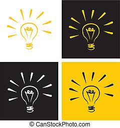 luce, vettore, set, bulbo, icona
