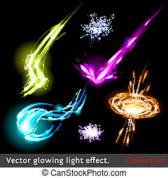 luce, vettore, set, effetti