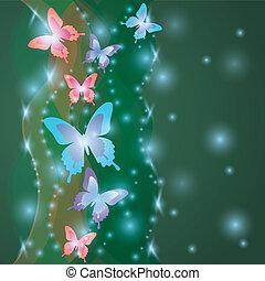 lucente, colorito, fondo, con, farfalle
