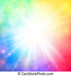 lucente, luminoso, lente, sole, morbido, fondo, bokeh, flare...
