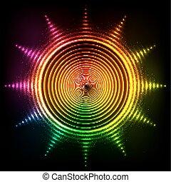 lucente, neon, colori arcobaleno, sole