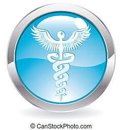 lucentezza, bottone, con, segno medico