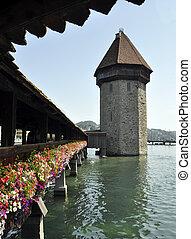 Lucern Switzerland bridge blue lake flowers