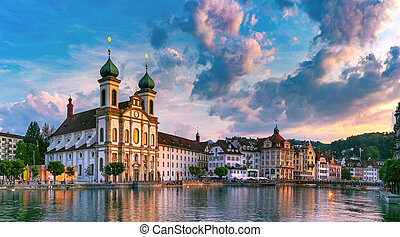 Lucerne at sunset, Switzerland