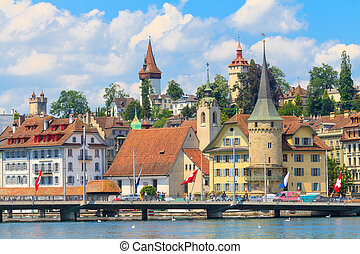 Lucerne city view with river Reuss, Switzerland