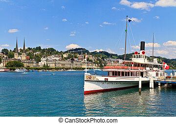 Lucerne City view with Steam Ship, Switzerland