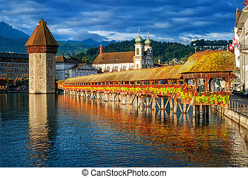 Lucerne, Switzerland, Chapel Bridge, Water Tower, Jesuit...