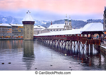 Lucerne, Switzerland, Chapel bridge, Water tower and Jesuit...