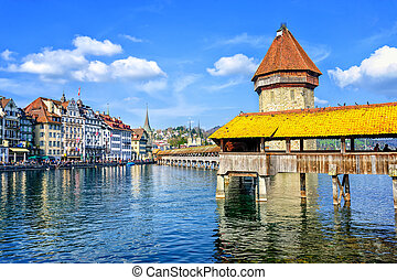 Lucerne, Switzerland, cityscape with wooden Chapel bridge and Water tower