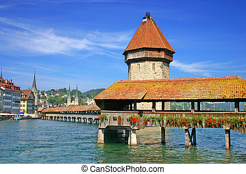 Lucerne Switzerland - The chapel bridge and water tower in...