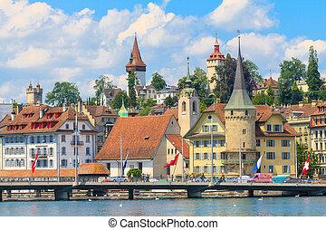 lucerne, veduta città, con, fiume, reuss, svizzera