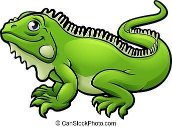 lucertola, carattere, cartone animato, iguana