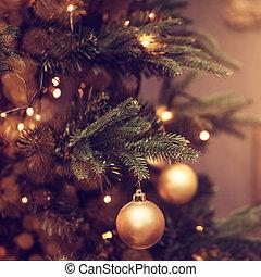 luces, árbol, brillo, decoraciones de navidad