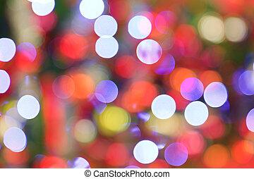 luces, árbol, foco, fondo., navidad, afuera