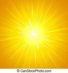 luces, amarillo, brillar