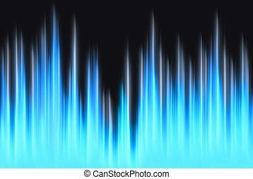 luces azules, copia, forma de onda, espacio