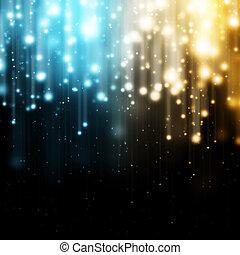 luces azules, oro