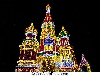 luces brillantes, decoración, en, forma, de, catedral de la albahaca de santo, (sobor, vasiliya, blazhennogo, catedral, de, vasily, el, blessed), en, tarde, moscú