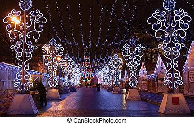 luces, calle, petersburgs, santo, navidad
