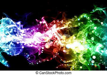 luces, colorido, humo