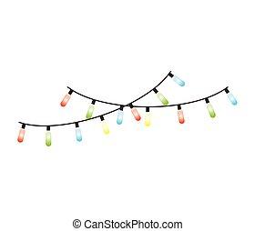 luces de navidad, decorativo, icono
