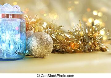 luces de navidad, en, tarro, en, oro, bokeh, luces, plano de fondo