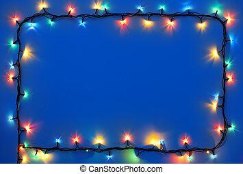 luces de navidad, marco