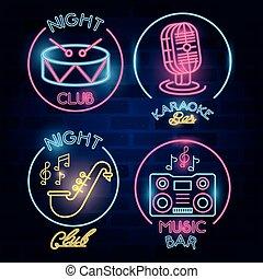 luces de neón, etiquetas, lío, barra