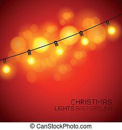 luces, encendido, tibio, navidad