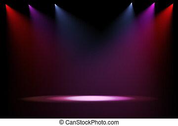 luces, etapa, fondo negro, 3d