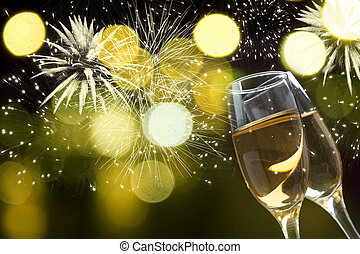luces, feriado, champaña, contra, anteojos