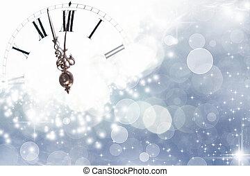 luces, feriado, medianoche, año nuevo