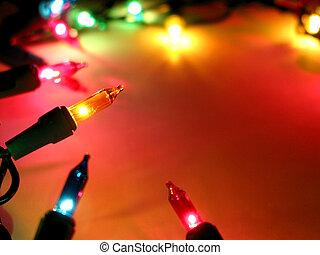 luces, marco, 2, navidad
