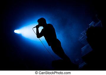 luces, micrófono, etapa, canto, artista