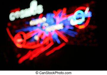 luces, neón, defocused